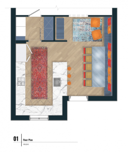 rendered drawing of kitchen and dining floor plan