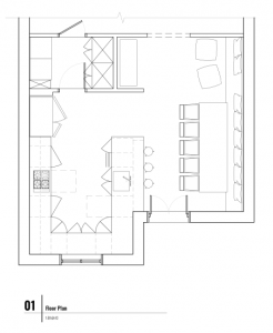 black and white line drawing of a kitchen and dining room