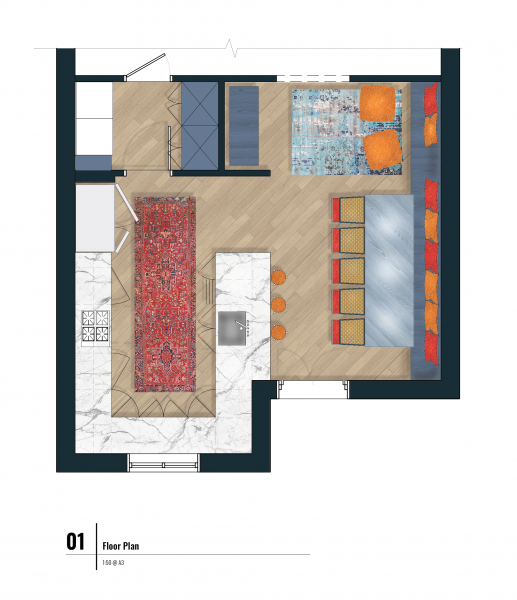 final floor plan with texture and color within Photoshop