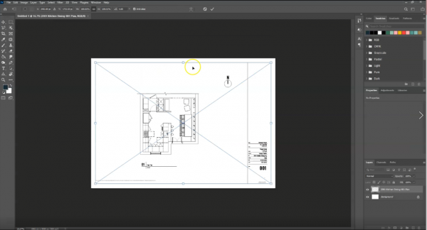 screenshot of placing a floor plan drawing in photoshop