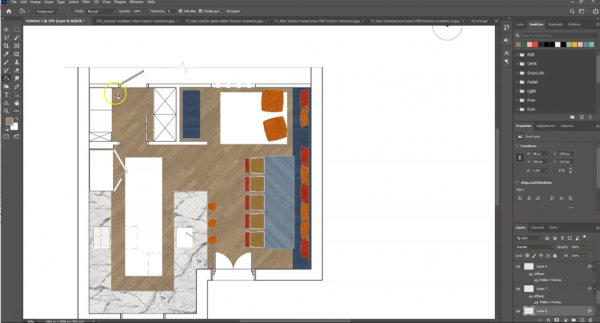 screenshot of all materials in floor plan drawing in Photoshop