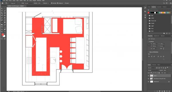 screenshot showing color in flooring area of floor plan