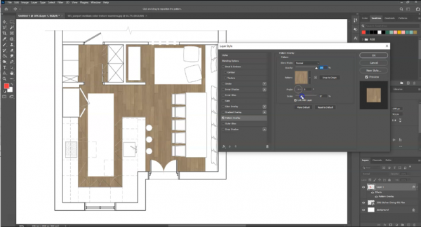 screenshot of wood flooring pattern applied to layer in photoshop