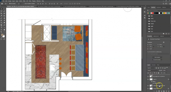 screenshot of floor plan in Photoshop with rugs and materials