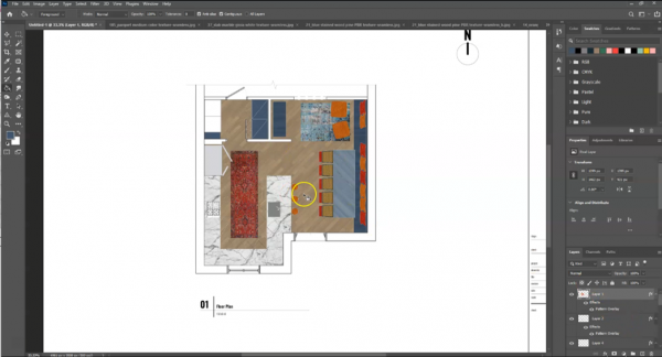screenshot of Photoshop file with all materials textures and rugs in floor plan