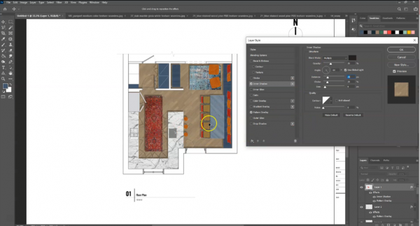 screenshot of inner shadow effect on flooring layer in photoshop of floor plan drawing