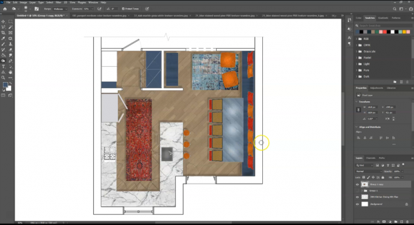 screenshot of rendered floor plan with highlights and lowlights using dodge and burn tool in photoshop